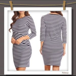 *Coming Soon Navy & White Striped 3/4 Sleeve dress